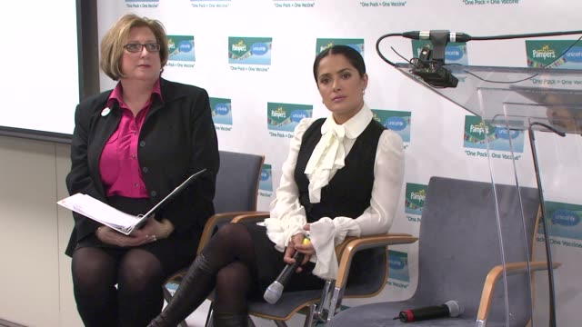 vice president north america baby care for proctor gamble jodi allen on unicef's success in eradicating tetanus deaths at the salma hayek and unicef... - salma hayek stock videos and b-roll footage