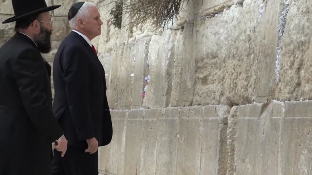 Vice President of the United States Mike Pence visits the Western Wall in Jerusalem during his extended trip across the Middle East