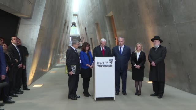 us vice president pence accompanied by israeli prime minister benjamin netanyahu visited the yad vashem holocaust memorial in jerusalem - government minister stock videos & royalty-free footage