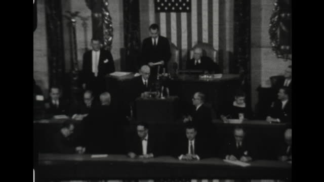 Vice President Richard Nixon addresses Congress to announce President John F Kennedy and Vice President Lyndon Johnson to be President and Vice...