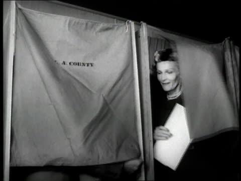 vídeos de stock e filmes b-roll de us vice president richard nixon and wife pat exit a voting booth - eleição presidencial dos estados unidos da américa