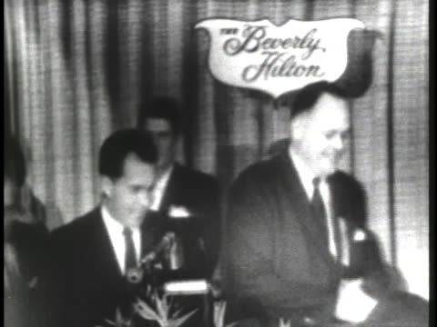 vice president richard nixon arriving at the los angeles press club banquet at the beverly hilton. - the beverly hilton hotel stock videos & royalty-free footage