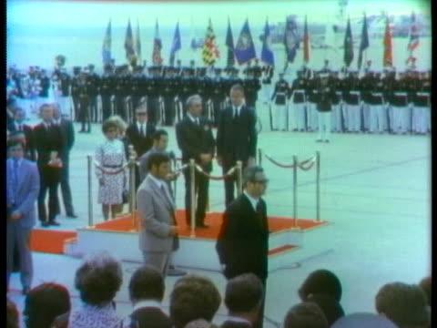 vídeos de stock e filmes b-roll de vice president spiro agnew and soviet leader leonid brezhnev make parting comments following summit meetings with us president richard nixon. - leonid brezhnev