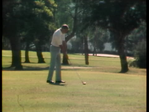 us vice president spiro agnew plays golf at entertainer frank sinatra's home in california - united states and (politics or government) stock-videos und b-roll-filmmaterial
