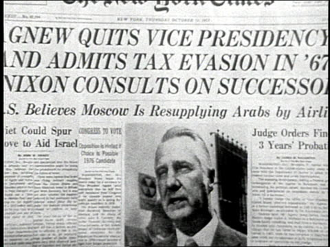 vice president spiro agnew resigns after admitting to tax evasion. - finance and economy stock videos & royalty-free footage