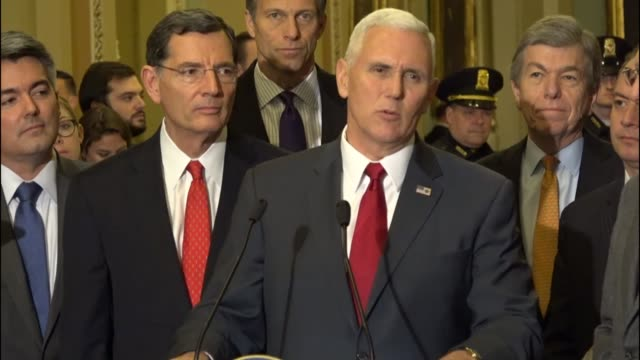 Vice Presidentelect Mike Pence tells reporters at a press proving with Senate Republicans that in 2017 They are there to work on the Trump program of...