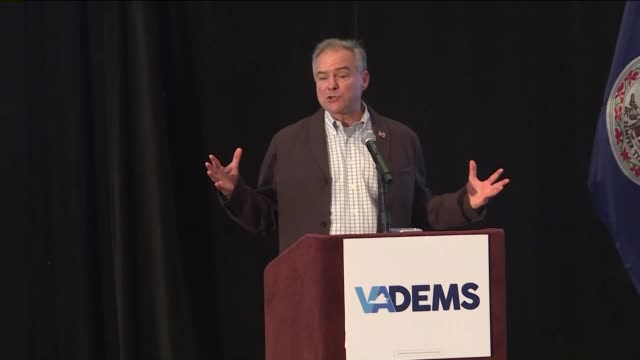 WTVR Vice Presidential Nominee Tim Kaine says 'Trump is OneMan Wrecking Crew' at the Virginia delegates breakfast on July 27 2016 at the 2016 DNC in...