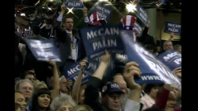 vicepresidential nominee sarah palin first speech supporters waving mccain/palin placards - vice president stock videos & royalty-free footage