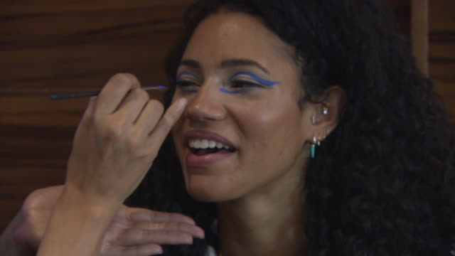 vick hope backstage at kolchagov barba lfw 2018 at me hotel on september 16 2018 in london england - backstage stock videos and b-roll footage