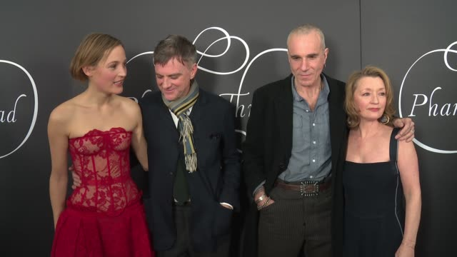 vídeos de stock, filmes e b-roll de vicky krieps paul thomas anderson daniel day lewis lesley manville at phantom thread new york premiere presented by focus features and annapurna... - 2017