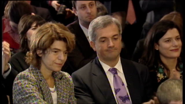 vicky pryce talks about the prison system t18120703 pryce sat next to former husband chris huhne at announcement of result of liberal democrats... - ビッキー・プライス点の映像素材/bロール