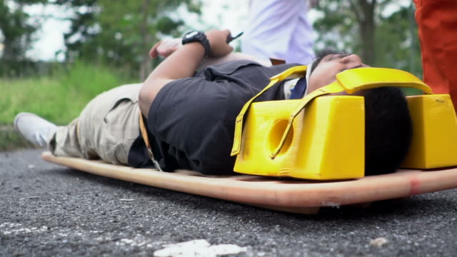 Victim of accident on stretcher