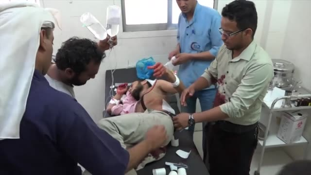 Victim of sniper attack from Houthi rebels rushed through Taiz Central Hospital and treated during the Yemen conlict