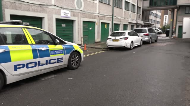 victims of double murder in westminster both stabbed in neck; england: london: westminster: ashbridge street: general views of crime scene and police... - crime and murder stock videos & royalty-free footage