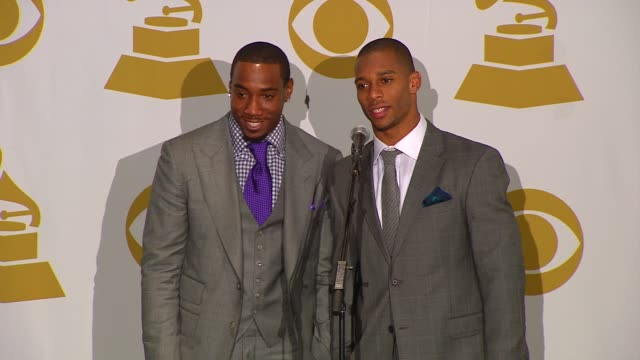 victor cruz and mario manningham on the grammy show on winning the super bowl winners and on whitney houston at the 54th annual grammy awards press... - whitney houston stock-videos und b-roll-filmmaterial