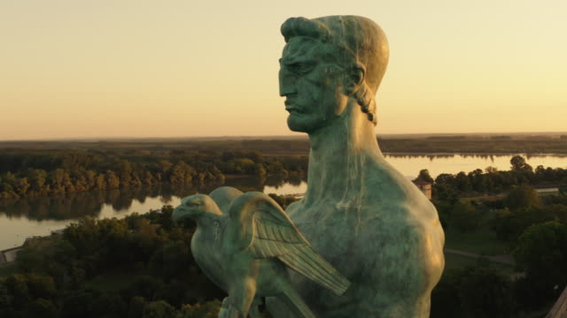 victor monument in belgrade, serbia. close up video - 1928 stock videos & royalty-free footage
