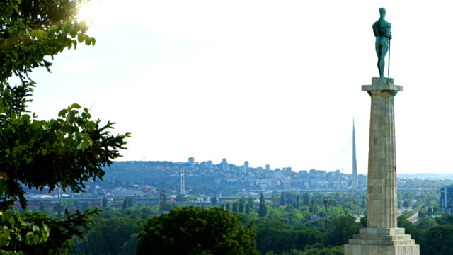 hd: victor monument in belgrade, serbia - belgrade serbia stock videos and b-roll footage