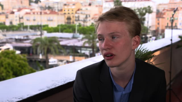 victor polster on what he hopes teenagers experiencing similar issues will get out of the film at 'girl' interviews - the 71st annual cannes film... - 第71回カンヌ国際映画祭点の映像素材/bロール