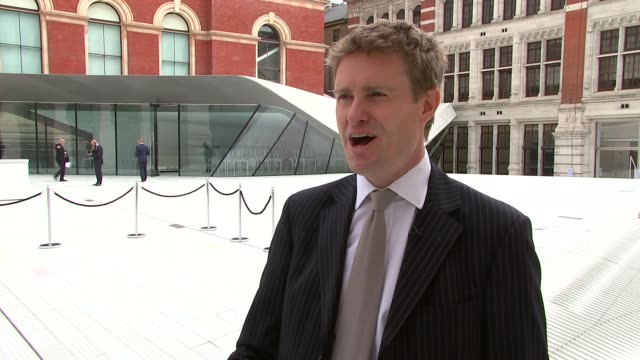victoria and albert museum extension sackler courtyard opens tristram hunt interview sot hunt and reporter down stairs into gallery / low angle view... - courtyard stock videos & royalty-free footage