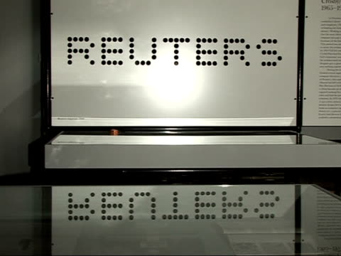 Victoria and Albert Museum exteriors / Alan Fletcher exhibition at Design Museum Various of Reuters logo designed by Fletcher on show in gallery...