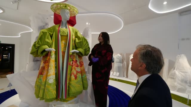 victoria and albert museum prepares for reopening; england: london: victoria and albert museum: int low angle view dale chihuly's rotunda chandelier... - traditional clothing stock videos & royalty-free footage