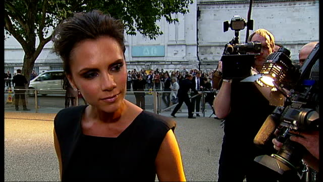 victoria beckham fashion show; r22090906 london: ext victoria beckham commenting on her dress at london fashion week sot - this is one of my dresses... - fashion collection stock videos & royalty-free footage