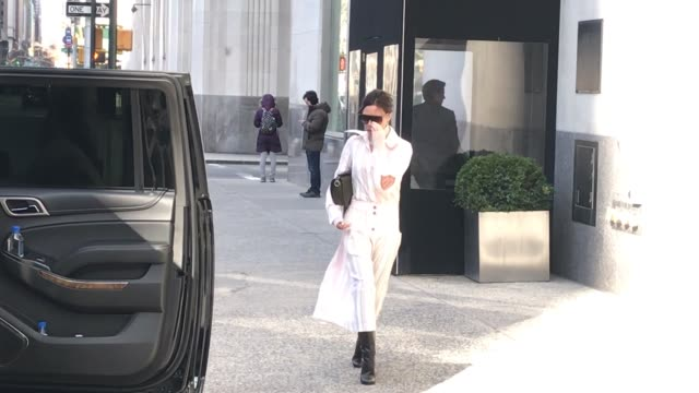 victoria beckham is seen leaving her hotel in chelsea on march 4, 2018 in new york city. - celebrity sightings stock videos & royalty-free footage