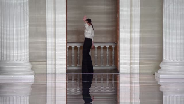 gif victoria beckham waves during her bow at the finale of her fashion show at victoria beckham aw20 fashion show during london fashion week february... - the end stock videos & royalty-free footage