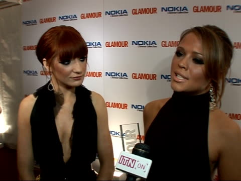 Victoria Beckham wins at Glamour magazine awards Photocalls and interviews Nicola Roberts and Kimberley Walsh interview SOT Talks of being tired...