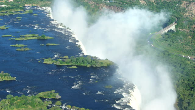 victoria falls. aerial view. - victoria falls stock videos and b-roll footage
