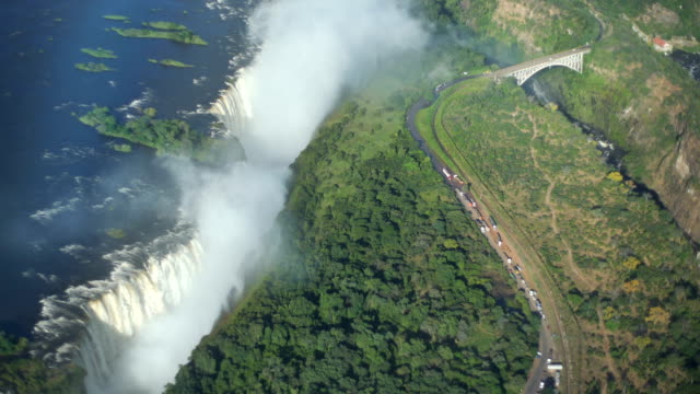 victoria falls. aerial view. - zimbabwe stock videos & royalty-free footage