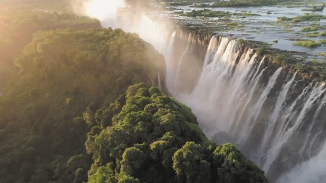 victoria falls, zimbabwe - drone point of view stock videos & royalty-free footage