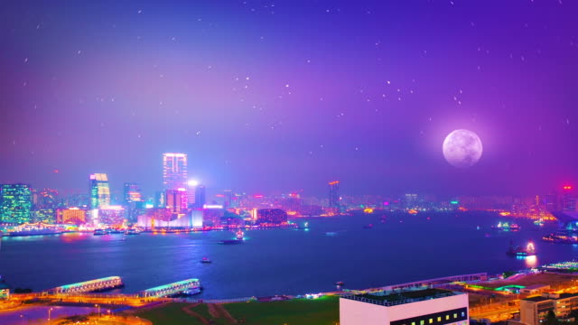 victoria harbor hong kong - central plaza hong kong stock videos & royalty-free footage
