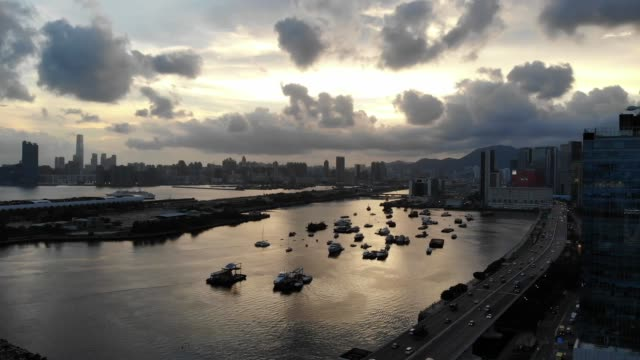 Victoria harbour Aerial Video (from Kowloon East)