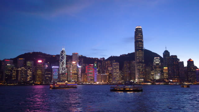 ws victoria harbour at dusk / hong kong, china - victoria harbour hong kong stock videos & royalty-free footage