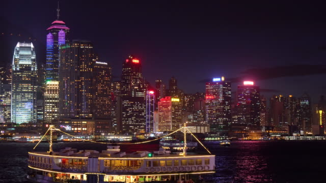 stockvideo's en b-roll-footage met ms victoria harbour bij nacht / hong kong, china - star ferry