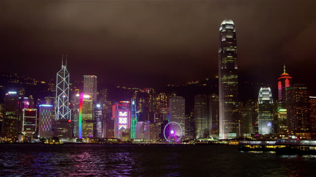 victoria harbour at night - star ferry stock videos & royalty-free footage