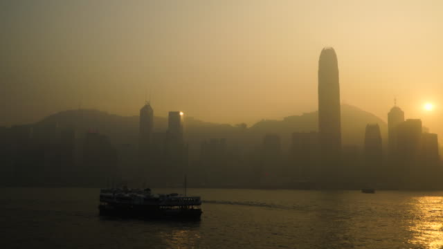 Victoria harbour in sunset time