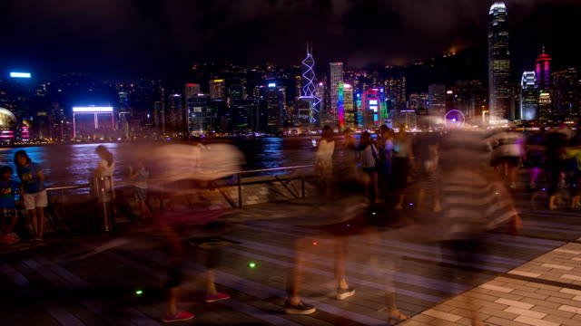 victoria harbour waterfront in hong kong - promenade stock videos & royalty-free footage