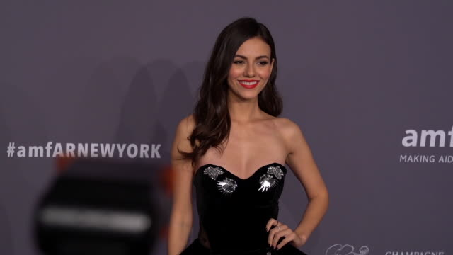 victoria justice at the 21st annual amfar gala new york at cipriani wall street on february 06 2019 in new york city - amfar stock videos & royalty-free footage
