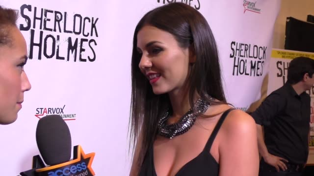 victoria justice at the opening night of sir arthur conan doyle's sherlock holmes at the montalban theatre in hollywood celebrity sightings on... - arthur conan doyle stock videos & royalty-free footage