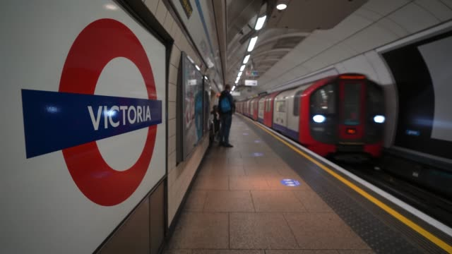 victoria line train pulls into victoria station platform as lockdown restrictions are eased after 7 weeks on may 13 2020 in london england the prime... - pulling stock videos & royalty-free footage