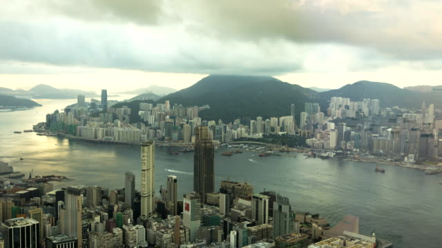 victoria peak and victoria harbor kowloon china asia - china east asia stock videos & royalty-free footage