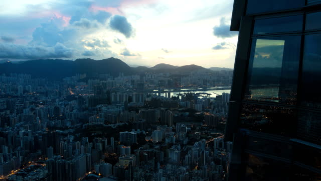 victoria peak kowloon harbor and bay skyscraper china - china east asia stock videos & royalty-free footage