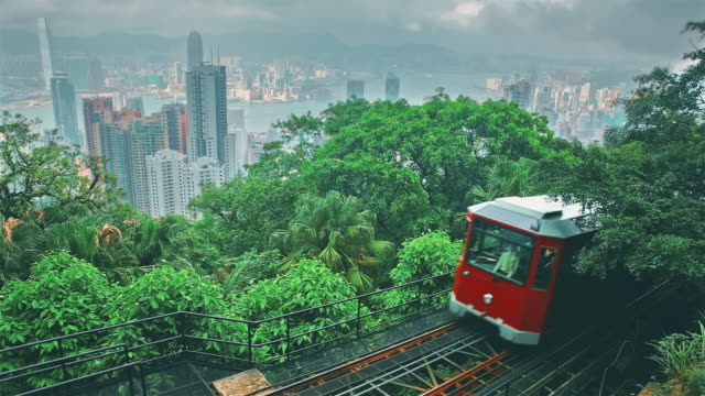 victoria peak tram in hong kong - cable car stock videos & royalty-free footage