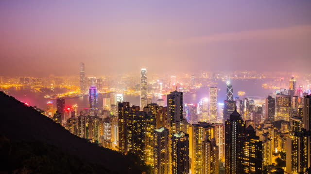 Victoria peak view point, Night city scape of Hong kong city