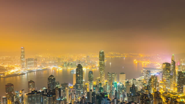 victoria peak view point, night city scape of hong kong city - victoria harbour hong kong stock videos and b-roll footage