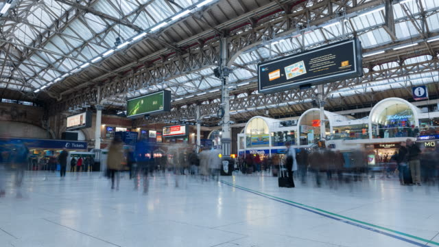 Victoria Station, London, time lapse at day