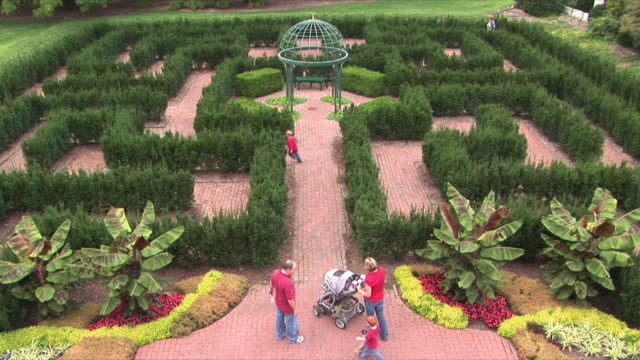 ws victorian garden at missouri botanical garden / st louis, missouri, usa   - maze stock videos & royalty-free footage