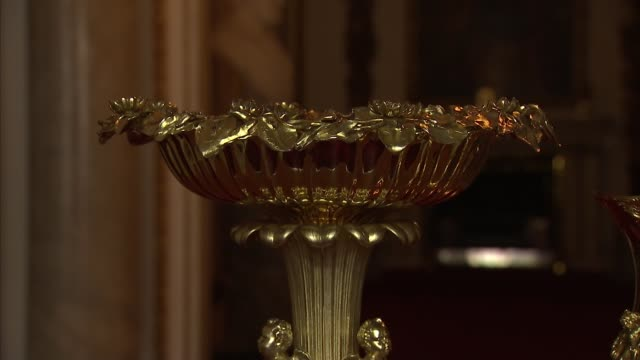 victorian silvergilt lily font and silver gilt tulipshaped christening ewer england norfolk sandringham church of st mary magdalene int close shots... - gilded stock videos & royalty-free footage
